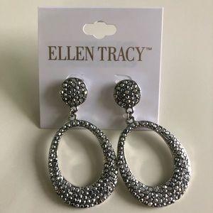Dangling silver tone hoop rhinestone earrings